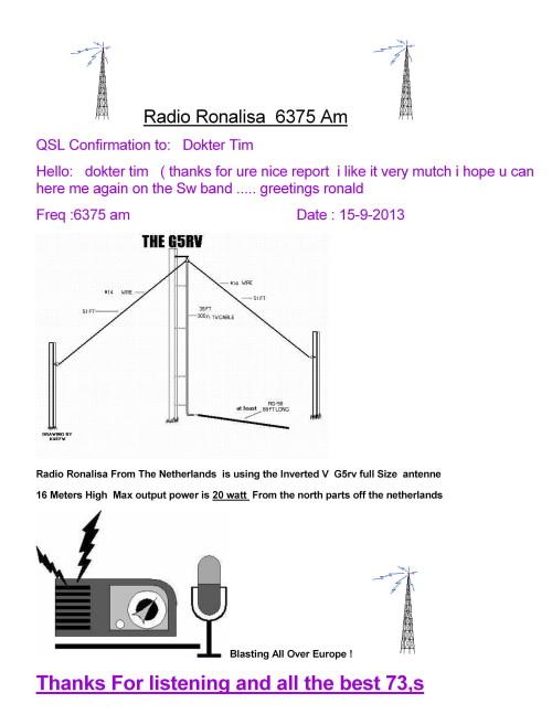 QSL Radio Ronalisa
