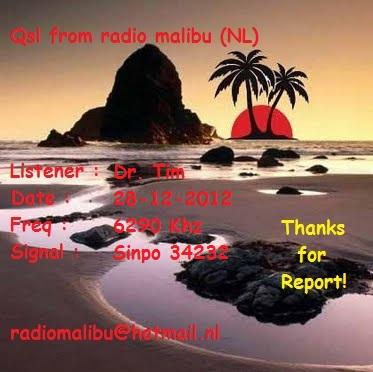 Radio Malibu Qsl for Dr. Tim