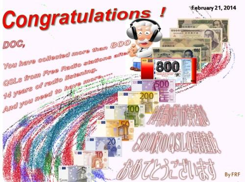 Congratulations Doc 800 QSLs