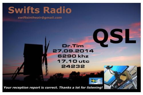 QSL Swifts Radio