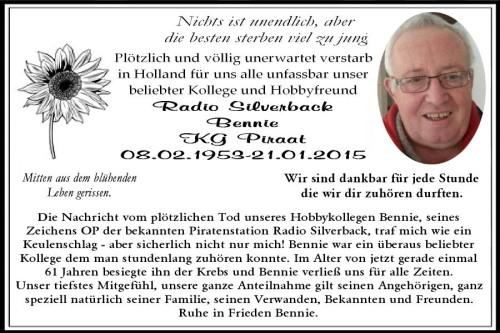 Todesanzeige Radio Silverback (Bennie)