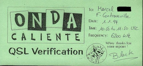 QSL Onda Caliente 1.1.1994