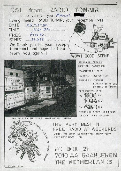 QSL R.Tonair 25.11.1990 6205 11h30