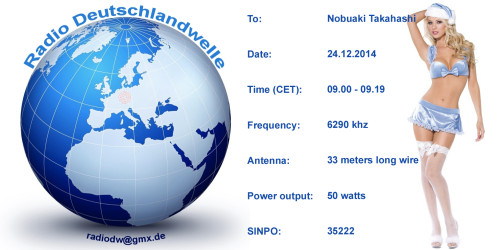 QSL Radio Deutschlandwelle 24.12.2014_Nobukai Takahasi Kopie