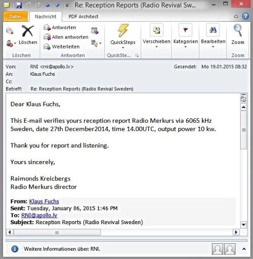 Merkurs eQSL 6.065kc 27.12.2014