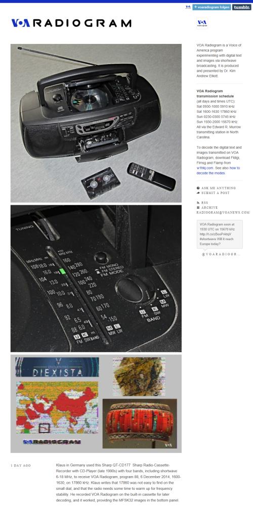VoA Empfang mit altem Sharp Ghettoblaster auf 17860 kHz