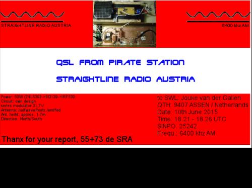 Straightline Radio Austria QSL - Jouke van der Galien