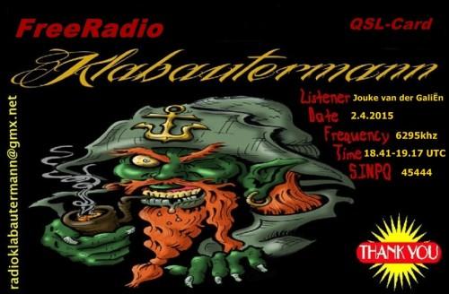 QSL Radio Klabautermann-Jouke van der Galien