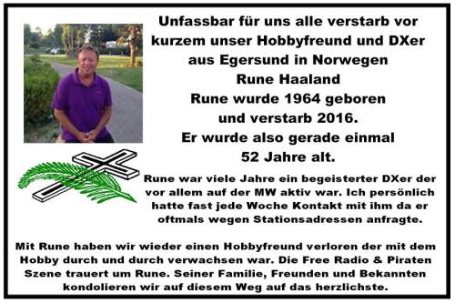 Todesanzeige Rune Haaland