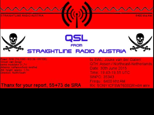 Straightline Radio Austria QSL - Jouke van der Galien2