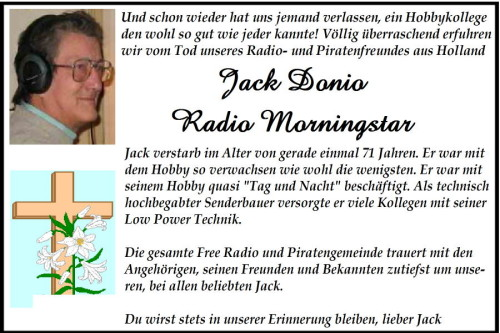 Todesanzeige Jack Donio (Radio Morningstar)