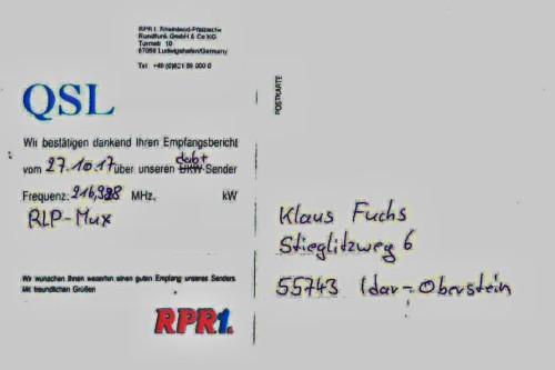RPR1 dab+ Test QSL-Bestätigung 10.2017