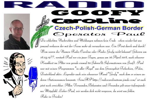 Todesanzeige Radio Carolie (Paul)